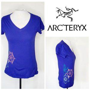 ARC'TERYX 100% Cotton Blue V-Neck T-Shirt